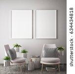 mock up poster frame in hipster ... | Shutterstock . vector #634434818