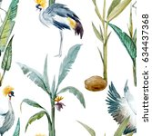 watercolor pattern with birds.... | Shutterstock . vector #634437368