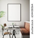 mock up poster frame in hipster ... | Shutterstock . vector #634438364