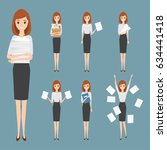 business woman working with... | Shutterstock .eps vector #634441418