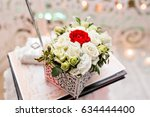 set of wedding rings in red and ... | Shutterstock . vector #634444400