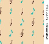 seamless pattern with musical... | Shutterstock .eps vector #634444418