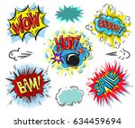 set of comic text  pop art... | Shutterstock . vector #634459694