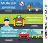 parking tow banner horizontal... | Shutterstock .eps vector #634465049