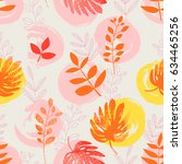 seamless pattern with hand... | Shutterstock .eps vector #634465256