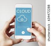 hands working on digital device ... | Shutterstock . vector #634472288