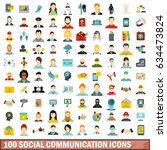 100 social communication icons... | Shutterstock .eps vector #634473824