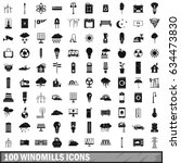 100 windmills icons set in... | Shutterstock .eps vector #634473830