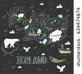 iceland hand drawn cartoon map. ...   Shutterstock .eps vector #634474874