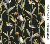 watercolor pattern with birds.... | Shutterstock . vector #634476143