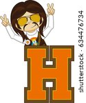 h is for hippie | Shutterstock .eps vector #634476734