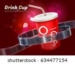 drink cup cinema movie theater... | Shutterstock .eps vector #634477154
