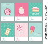 vector set of cards with sweets | Shutterstock .eps vector #634478324