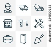 construction outline icons set. ... | Shutterstock .eps vector #634500188