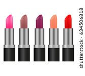 lipstick set isolated icons ... | Shutterstock .eps vector #634506818