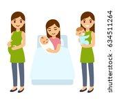 pregnancy and birth cute... | Shutterstock . vector #634511264