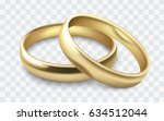 vector gold wedding rings... | Shutterstock .eps vector #634512044
