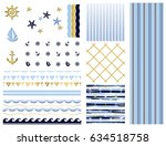 big set with simple seamless... | Shutterstock .eps vector #634518758