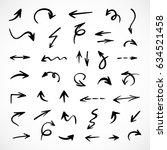 hand drawn arrows  vector set | Shutterstock .eps vector #634521458