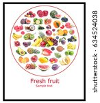 fresh fruit poster | Shutterstock . vector #634524038