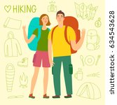 cartoon travelers with a large... | Shutterstock .eps vector #634543628