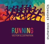 running marathon  people run ... | Shutterstock .eps vector #634544426