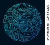 seo line icon circle concept.... | Shutterstock .eps vector #634551308
