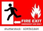 fire exit  | Shutterstock .eps vector #634561664