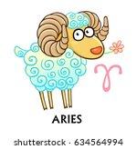 zodiac sign aries. fantastic...   Shutterstock .eps vector #634564994