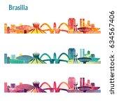 brazil skyline. vector... | Shutterstock .eps vector #634567406