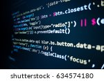 Small photo of Software source code. Programming code. Programming code on computer screen. Developer working on program codes in office. Source code photo. Technology background.