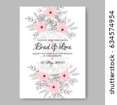 wedding floral invitation... | Shutterstock .eps vector #634574954