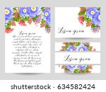 romantic invitation. wedding ... | Shutterstock .eps vector #634582424