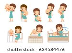 mom and baby. flat design. mom... | Shutterstock .eps vector #634584476