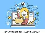 stock vector illustration woman ... | Shutterstock .eps vector #634588424