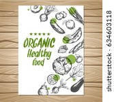 hand drawn healthy food poster... | Shutterstock .eps vector #634603118