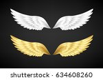wings collection. white and... | Shutterstock .eps vector #634608260