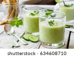 cold cucumber soup with avocado ... | Shutterstock . vector #634608710