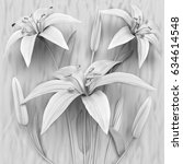 3d flowers  white lilies   Shutterstock . vector #634614548