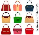 a set of women's handbags  a... | Shutterstock .eps vector #634616363