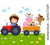 farmer boy driving a tractor... | Shutterstock .eps vector #634617269
