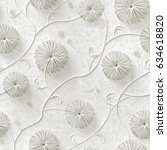 3d background  abstract flowers ... | Shutterstock . vector #634618820