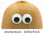 kiwi face with googly eyes on... | Shutterstock . vector #634619216