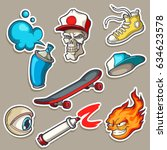 set of hand drawn stickers in... | Shutterstock .eps vector #634623578