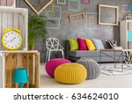 hipster room with colorful... | Shutterstock . vector #634624010