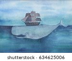 Watercolor Whale With Ship  In...