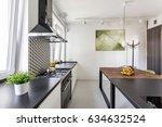 black countertop in scandi... | Shutterstock . vector #634632524