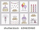 set of cute birthday cards.... | Shutterstock .eps vector #634633460