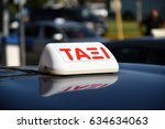 Taxi Sign In Greek Language On...