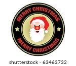 Label with Santa shape and the text Merry Christmas written inside - stock vector